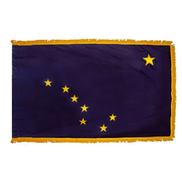 4x6 ft. Nylon Alaska flag with Pole Hem and Fringe