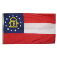 2x3 ft. Nylon Georgia Flag with Heading and Grommets
