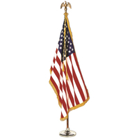 8ft. U.S. Flag Indoor Display Set with Wood Pole and Fringed Flag