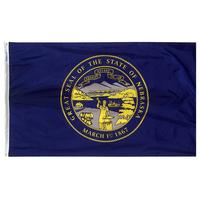 5x8 ft. Nylon Nebraska Flag with Heading and Grommets