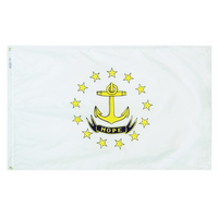 2x3 ft. Nylon Rhode Island Flag with Heading and Grommets