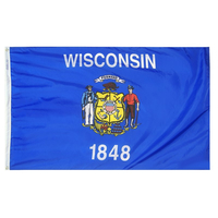 6x10 ft. Nylon Wisconsin Flag with Heading and Grommets