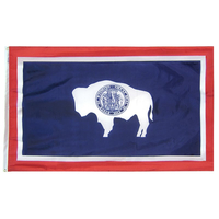 2x3 ft. Nylon Wyoming Flag with Heading and Grommets
