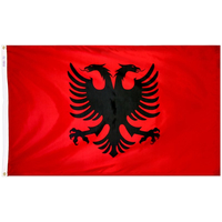 3x5 ft. Nylon Albania Flag Pole Hem Plain