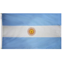 3x5 ft. Nylon Argentina Flag Pole Hem Plain