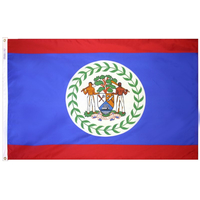5x8 ft. Nylon Belize Flag with Heading and Grommets