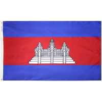 3x5 ft. Nylon Cambodia Flag Pole Hem Plain
