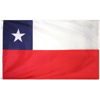 4x6 ft. Nylon Chile Flag with Heading and Grommets