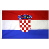 3x5 ft. Nylon Croatia Flag Pole Hem Plain