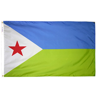 2x3 ft. Nylon Djibouti Flag with Heading and Grommets
