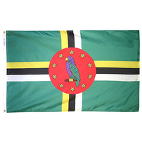 4x6 ft. Nylon Dominica Flag Pole Hem Plain