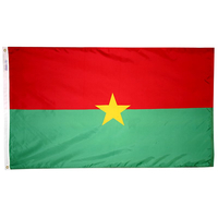 3x5 ft. Nylon Burkina Faso Flag with Heading and Grommets