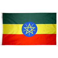 4x6 ft. Nylon Ethiopia Flag Pole Hem Plain
