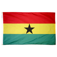 5x8 ft. Nylon Ghana Flag with Heading and Grommets