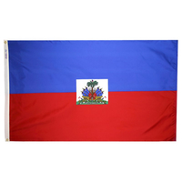 3x5 ft. Nylon Haiti Flag Pole Hem Plain