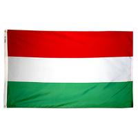 3x5 ft. Nylon Hungary Flag Pole Hem Plain