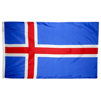 5x8 ft. Nylon Iceland Flag with Heading and Grommets