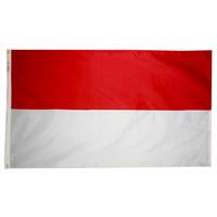 2x3 ft. Nylon Indonesia Flag Pole Hem Plain