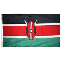 5x8 ft. Nylon Kenya Flag with Heading and Grommets