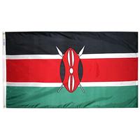 3x5 ft. Nylon Kenya Flag Pole Hem Plain