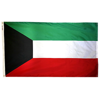 2x3 ft. Nylon Kuwait Flag Pole Hem Plain