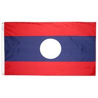 3x5 ft. Nylon Laos Flag Pole Hem Plain