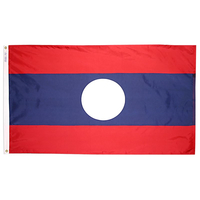 3x5 ft. Nylon Laos Flag with Heading and Grommets