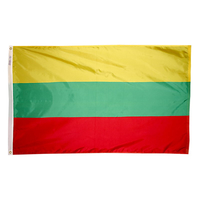 3x5 ft. Nylon Lithuania Flag Pole Hem Plain