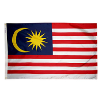 5x8 ft. Nylon Malaysia Flag with Heading and Grommets