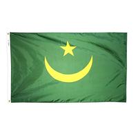 4x6 ft. Nylon Mauritania Flag Pole Hem Plain