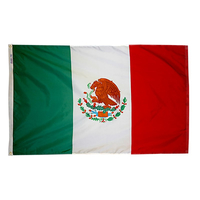 2x3 ft. Nylon Mexico Flag Pole Hem Plain
