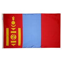 3x5 ft. Nylon Mongolia Flag Pole Hem Plain