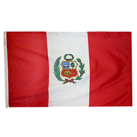 5x8 ft. Nylon Peru Flag with Heading and Grommets