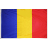 3x5 ft. Nylon Romania Flag Pole Hem Plain