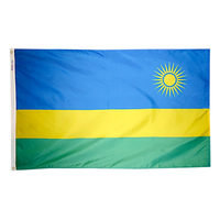 3x5 ft. Nylon Rwanda Flag with Heading and Grommets