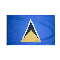 3x5 ft. Nylon St. Lucia Flag with Heading and Grommets