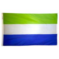 3x5 ft. Nylon Sierra Leone Flag Pole Hem Plain