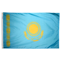 4x6 ft. Nylon Kazakhstan Flag Pole Hem Plain