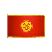 3x5 ft. Nylon Kyrgyzstan Flag Pole Hem and Fringe