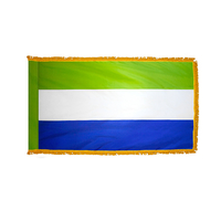 4x6 ft. Nylon Sierra Leone Flag Pole Hem and Fringe