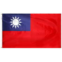 2x3 ft. Nylon China (Taiwan) Flag with Heading and Grommets