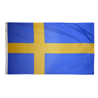2x3 ft. Nylon Sweden Flag with Heading and Grommets