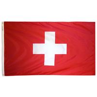 3x5 ft. Nylon Switzerland Flag Pole Hem Plain