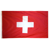 5x8 ft. Nylon Switzerland Flag with Heading and Grommets