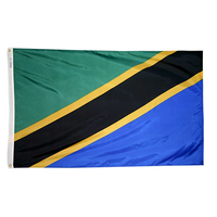 3x5 ft. Nylon Tanzania Flag Pole Hem Plain