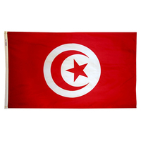 3x5 ft. Nylon Tunisia Flag with Heading and Grommets