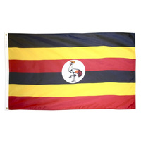 3x5 ft. Nylon Uganda Flag Pole Hem Plain