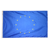 2x3 ft. Nylon Council Europe Flag Pole Hem Plain