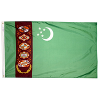 3x5 ft. Nylon Turkmenistan Flag Pole Hem Plain