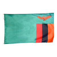 2x3 ft. Nylon Zambia Flag with Heading and Grommets